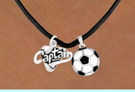 """<Br>   LEAD & NICKEL FREE!!<Br>W13595N - """"CAPTAIN"""" &<br>SOCCER BALL NECKLACE<br>        AS LOW AS $4.50"""