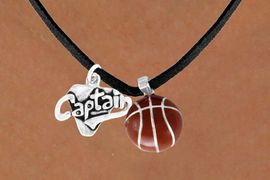 "<Br>   LEAD & NICKEL FREE!!<Br>W13596N - ""CAPTAIN"" &<br>BASKETBALL NECKLACE<br>        AS LOW AS $4.50"