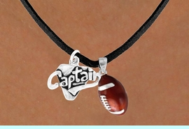 """<Br>    LEAD & NICKEL FREE!!<Br>W13598N - """"CAPTAIN"""" &<br>    FOOTBALL NECKLACE<br>        AS LOW AS $4.50"""