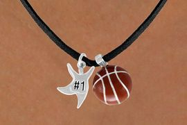 "<Br>      LEAD & NICKEL FREE!!<Br>W13600N - ""#1"" STAR MAN<br> & BASKETBALL NECKLACE<br>            AS LOW AS $4.50"