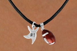 "<Br>      LEAD & NICKEL FREE!!<Br>W13602N - ""#1"" STAR MAN<br>    & FOOTBALL NECKLACE<br>           AS LOW AS $4.50"