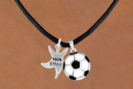 "<Br>            LEAD & NICKEL FREE!!<Br>W13607N - ""100% EFFORT"" STAR<br> MAN & SOCCER BALL NECKLACE<BR>                 AS LOW AS $4.50"
