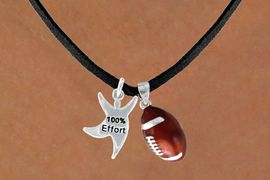 "<Br>            LEAD & NICKEL FREE!!<Br>W13610N - ""100% EFFORT"" STAR<br>    MAN & FOOTBALL NECKLACE<BR>                 AS LOW AS $4.50"