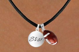 "<Br>   LEAD & NICKEL FREE!!<Br>W13616N - ""STAR"" DISC<br> & FOOTBALL NECKLACE<br>        AS LOW AS $4.50"