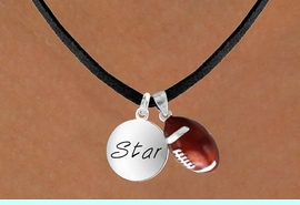 """<Br>   LEAD & NICKEL FREE!!<Br>W13616N - """"STAR"""" DISC<br> & FOOTBALL NECKLACE<br>        AS LOW AS $4.50"""