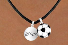 """<Br>     LEAD & NICKEL FREE!!<Br>W13617N - """"STAR"""" DISC &<br>  SOCCER BALL NECKLACE<br>           AS LOW AS $4.50"""