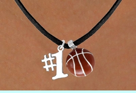 """<Br>     LEAD & NICKEL FREE!!<Br>  W13629N - """"#1"""" CHARM<br>& BASKETBALL NECKLACE<br>           AS LOW AS $4.50"""