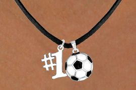 """<Br>     LEAD & NICKEL FREE!!<Br>  W13630N - """"#1"""" CHARM<br>& SOCCER BALL NECKLACE<br>           AS LOW AS $4.50"""