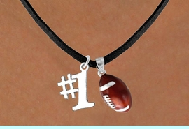 """<Br>  LEAD & NICKEL FREE!!<Br>W13631N - """"#1"""" CHARM<br> & FOOTBALL NECKLACE<br>        AS LOW AS $4.50"""