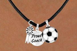 "<Br>           LEAD & NICKEL FREE!!<Br>    W13632N - ""1ST"" RIBBON &<br>""PROUD COACH"" SOCCER BALL<br>    NECKLACE AS LOW AS $5.30"