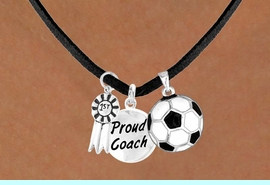 """<Br>           LEAD & NICKEL FREE!!<Br>    W13632N - """"1ST"""" RIBBON &<br>""""PROUD COACH"""" SOCCER BALL<br>    NECKLACE AS LOW AS $5.30"""