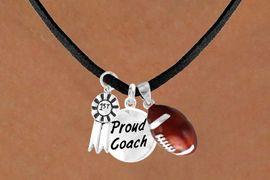 "<Br>       LEAD & NICKEL FREE!!<Br>W13633N - ""1ST"" RIBBON &<br>""PROUD COACH"" FOOTBALL<br> NECKLACE AS LOW AS $5.30"