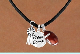 """<Br>       LEAD & NICKEL FREE!!<Br>W13633N - """"1ST"""" RIBBON &<br>""""PROUD COACH"""" FOOTBALL<br> NECKLACE AS LOW AS $5.30"""