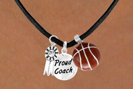 "<Br>          LEAD & NICKEL FREE!!<Br>   W13635N - ""1ST"" RIBBON &<br>""PROUD COACH"" BASKETBALL<br>   NECKLACE AS LOW AS $5.30"