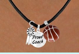 """<Br>          LEAD & NICKEL FREE!!<Br>   W13635N - """"1ST"""" RIBBON &<br>""""PROUD COACH"""" BASKETBALL<br>   NECKLACE AS LOW AS $5.30"""