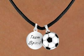 """<Br>     LEAD & NICKEL FREE!!<Br>W13638N - """"TEAM SPIRIT""""<br>& SOCCER BALL NECKLACE<br>           AS LOW AS $4.50"""