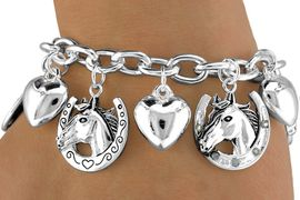 <BR>              LEAD & NICKEL FREE!!<Br>     W13778B - HEARTS & HORSES!<Br>CHARM BRACELET AS LOW AS $7.15