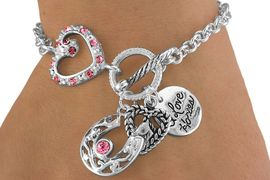 """<Br>                   LEAD & NICKEL FREE!<br>           W13781B - """"I LOVE HORSES""""<Br>   TRIPLE-CHARM AUSTRIAN CRYSTAL<br>ACCENTED BRACELET AS LOW AS $5.15"""