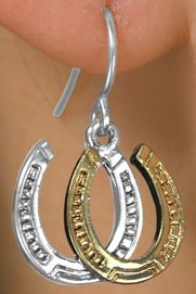 <Br>                  LEAD & NICKEL FREE!!<Br>         W14125E - TWO-TONE DOUBLE<br>HORSESHOE EARRINGS AS LOW AS $4.73