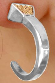 <Br>                LEAD & NICKEL FREE!!<Br> W14126E - TWO-TONE HORSESHOE<br>SHAPED HORSESHOE NAIL EARRINGS<Br>                     AS LOW AS $4.73