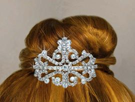 <Br>           LEAD & NICKEL FREE!!<Br> W14233T - GENUINE AUSTRIAN<bR>   CRYSTAL FLOWER & FILIGREE <Br>TIARA COMB FROM $5.63 TO $12.50