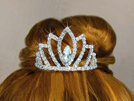 <Br>            LEAD & NICKEL FREE!!<Br>   W14236T - GENUINE AUSTRIAN<br>CRYSTAL MINIATURE TIARA COMB<Br>           FROM $5.30 TO $10.00