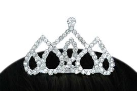 <Br>             LEAD & NICKEL FREE!!!<br>W14242T - TRIPLE UPSIDE-DOWN<Br>  AUSTRIAN CRYSTAL HEART TIARA<Br>           COMB FROM $3.94 TO $8.75