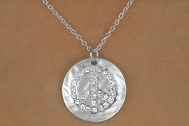 """<Br>                 LEAD & NICKEL FREE!!<Br>       W14256N - MATTE SILVER TONE<br>""""PEACE MEDAL"""" DISC WITH AUSTRIAN<br>      CRYSTAL PEACE SIGN NECKLACE<Br>                      AS LOW AS $4.20"""