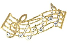 <Br>            LEAD & NICKEL FREE!!<Br> W14323P - GENUINE AUSTRIAN<br>CRYSTAL MUSIC STAFF & NOTES<BR>       PIN FROM $3.94 TO $8.75