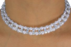 <Br>           LEAD & NICKEL FREE!!<br>W14327NE - WHITE FAUX PEARL<br> & GENUINE AUSTRIAN CRYSTAL<br>    CHOKER, CLIP-ON EARRINGS<BR>           FROM $9.45 TO $22.50
