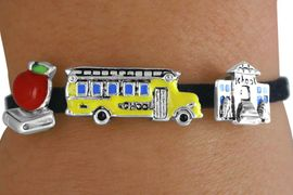 <Br>               LEAD & NICKEL FREE!!<Br> W14365B - SCHOOL THEME SUEDE<Br>LEATHER LOBSTER CLASP BRACELET<br>                    AS LOW AS $3.15