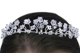 <Br>                LEAD & NICKEL FREE!!<Br>    W14376HJ - GENUINE AUSTRIAN<br>    CRYSTAL & CLEAR BEAD FLORAL<BR>HEADBAND FROM $24.75 TO $55.00
