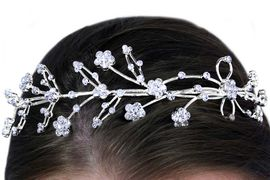 <Br>            LEAD & NICKEL FREE!!<Br>W14378HJ - GENUINE AUSTRIAN<bR>   CRYSTAL FLOWER HEADBAND<Br>         FROM $20.25 TO $45.00