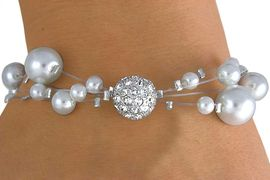 <Br>                LEAD & NICKEL FREE!!<Br>W14404B - MULTI WIRE FAUX PEARL<br>      & GENUINE AUSTRIAN CRYSTAL<Br>    BRACELET FROM $8.93 TO $21.25