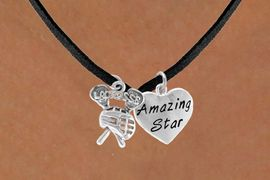 "<Br>               LEAD & NICKEL FREE!!<Br>W14431N - ""LACROSSE"" STICKS &<Br>   ""AMAZING STAR"" BLACK SUEDE<BR>        NECKLACE AS LOW AS $4.15"