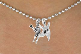 "<Br>          LEAD & NICKEL FREE!!<Br>W14432N - LACROSSE PLAYER<Br>& ""#1"" STAR MAN BALL CHAIN<BR>   NECKLACE AS LOW AS $4.15"