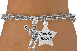 "<Br>         LEAD & NICKEL FREE!!<Br>W14435B - LACROSSE PLAYER<Br>     & ""CAN-DO SPIRIT"" STAR<BR>   BRACELET AS LOW AS $4.15"