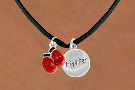 "<Br>              LEAD & NICKEL FREE!!<Br>    W14442N - BOXING GLOVES &<BR>""FIGHTER"" DISC SUEDE NECKLACE<BR>              FROM $5.25 TO $8.65"