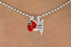 "<Br>            LEAD & NICKEL FREE!!<Br>  W14443N - BOXING GLOVES &<BR>    ""100% EFFORT"" BALL CHAIN<BR>NECKLACE FROM $5.25 TO $8.65"