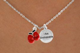 "<Br>            LEAD & NICKEL FREE!!<Br>  W14445N - BOXING GLOVES &<BR>    ""I AM UNSTOPPABLE"" CHAIN<BR>NECKLACE FROM $5.25 TO $8.65"