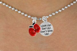 "<Br>         LEAD & NICKEL FREE!!<Br>W14447N - BOXING GLOVES &<BR>""DON'T GIVE UP!"" BALL CHAIN<BR>   NECKLACE AS LOW AS $4.15"