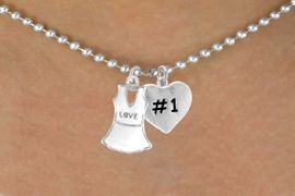 "<Br>              LEAD & NICKEL FREE!!<Br>W14457N - ""LOVE"" TENNIS DRESS<Br>    & ""#1"" BALL CHAIN NECKLACE<Br>                  AS LOW AS $4.15"