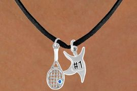 "<Br>              LEAD & NICKEL FREE!!<Br>W14462N - TENNIS RACKET & ""#1""<BR>SUEDE NECKLACE AS LOW AS $4.15"