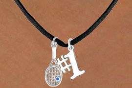 "<Br>              LEAD & NICKEL FREE!!<Br>W14464N - TENNIS RACKET & ""#1""<BR>SUEDE NECKLACE AS LOW AS $4.15"