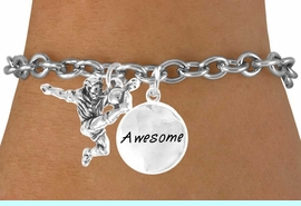 """<Br>          LEAD & NICKEL FREE!!<Br>    W14469B - SOCCER KICK &<BR>""""AWESOME"""" CHAIN BRACELET<BR>               AS LOW AS $4.15"""