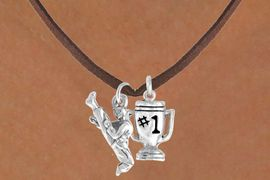 "<Br>           LEAD & NICKEL FREE!!<Br>     W14474N - KARATE KICK &<BR>""#1"" TROPHY SUEDE NECKLACE<BR>                AS LOW AS $4.15"