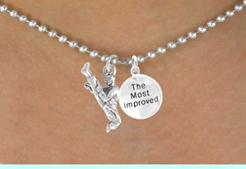 """<Br>            LEAD & NICKEL FREE!!<Br>W14475N - KARATE KICK & """"THE<BR>  MOST IMPROVED"""" BALL CHAIN<Br>     NECKLACE AS LOW AS $4.15"""