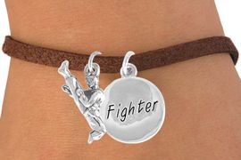 "<Br>        LEAD & NICKEL FREE!!<Br>  W14477B - KARATE KICK &<BR>""FIGHTER"" SUEDE BRACELET<BR>              AS LOW AS $4.15"