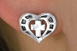 <bR>              LEAD & NICKEL FREE!!<Br>  W14491E - SILVER TONE HEART &<Br>CROSS EARRINGS FROM $2.25 TO $5.00