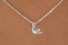 "<Br>             LEAD & NICKEL FREE!!<BR>    W14524N - SMALL DOVE ON A<Br>CHILDREN'S 12"" CHAIN NECKLACE<BR>             FROM $3.55 TO $7.50"